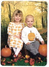 Professional photo: kids in the pumpkin patch.
