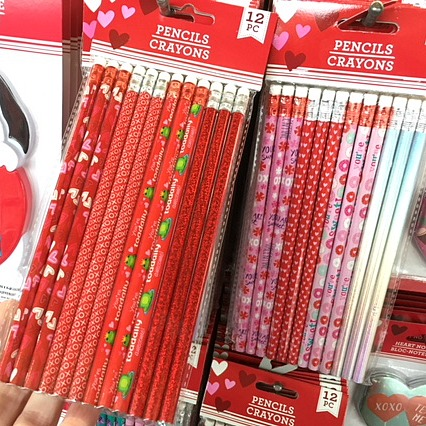 Valentine pencils for teacher gift baskets.
