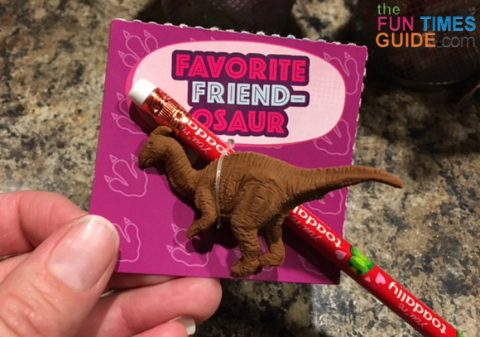 The Valentine pencils fit perfectly onto the dinosaur Valentine cards.