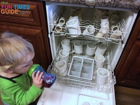 Since the PVC pipes I used had been stored outside, I had to clean them first in the dishwasher.