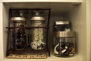 Using craft jar to store craft supplies like ribbons. photo by The Shopping Sherpa on Flickr