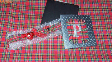 Handmade Monogrammed Cards: How To Make Plaid Fabric Monogram Cards With Bling