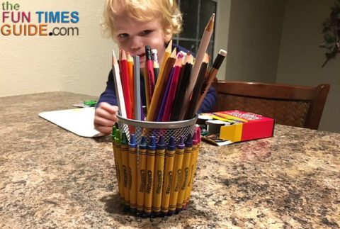This DIY Valentine gift candy basket for teachers also works as a desk pencil holder once all the candy is gone.