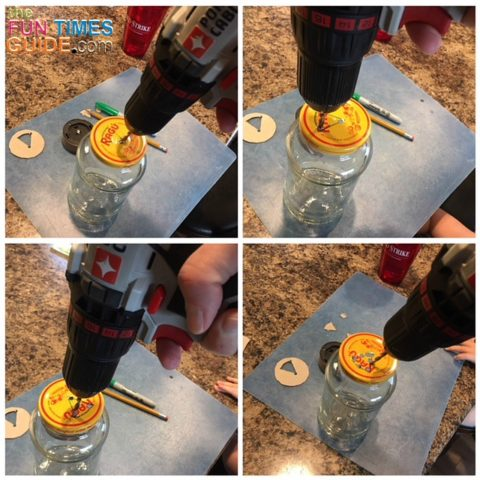 Drilling holes into the lids of the glass jars.
