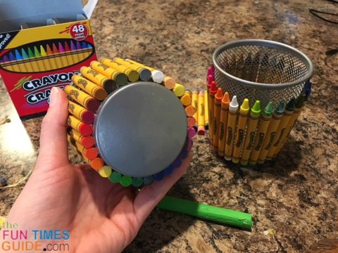 What it looks like when all 28 crayons are glued onto the pencil holder.