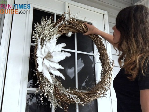 I make front door wreaths all throughout the year. For this one, I decided to get a jump start on January's wreath to hang on New Year's Day.