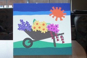 Handmade Wheelbarrow Card With Flowers – Great For Mother's Day Or Gardeners