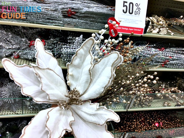 I was inspired to make this wreath after seeing these flowers and foliage pieces at Hobby Lobby on sale in the Christmas aisle.
