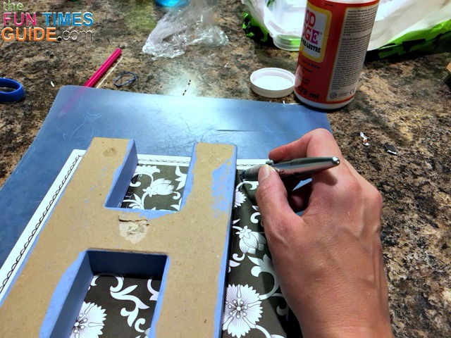 DIY Wooden Alphabet Letters Wall Decor: How To Mod Podge Paper To