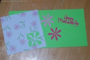Happy Mother's Day card made with pink flower paper and a Cricut machine. photo by Suzie at TheFunTimesGuide.com