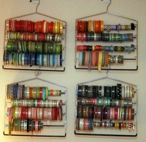 Diy ribbon organizers you can make yourself us one you can buy pants hanger ribbon organizer solutioingenieria Image collections