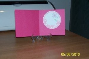 A handmade pink flower card. photo by Suzie at TheFunTimesGuide.com