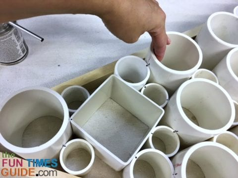 I cut the various diameters of PVC pipe at different lengths for added dimension.