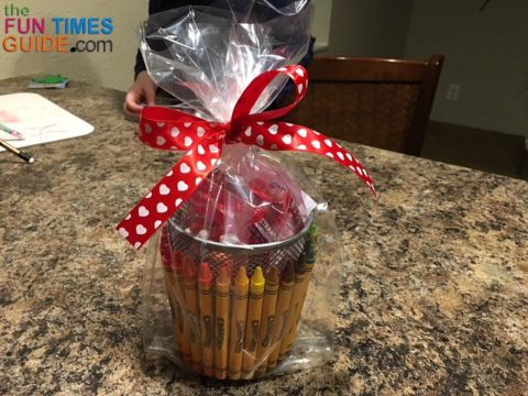 A Valentine ribbon securely holds these DIY gift baskets closed.