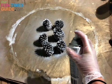 For a touch of white, I spray painted some pine cones and added 3 per basket.