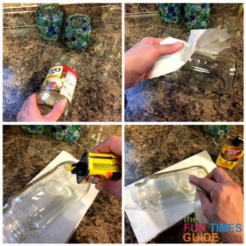 Removing the glue residue from labels left on the glass jars.