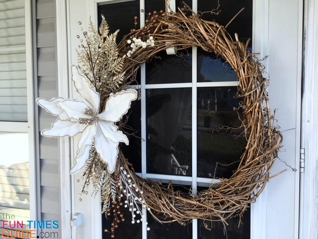 It's a simple grapevine wreath, but it makes a cozy, warm statement for the winter months.