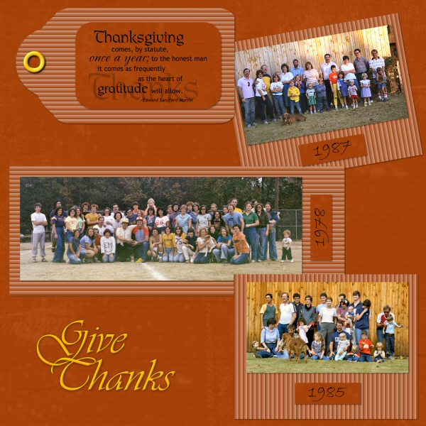 Have each member of the family make their own Thanksgiving scrapbook page,